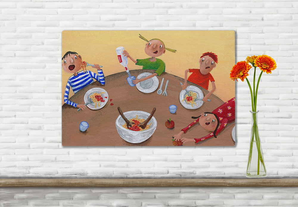 Illustration Kinder beim Essen